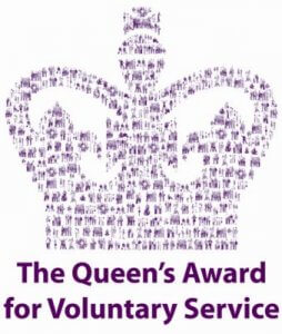 This images is the Queen's Award for Voluntary Services logo