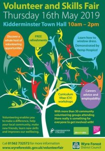 This is an image of the Kidderminster Volunteer and Skills Fair 2019 poster.