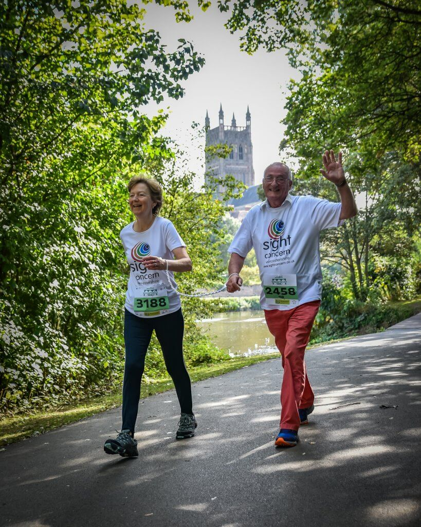 a photo of shirely and paul representing sight concern at the worcester run 2019